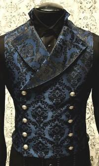 Черно-синий жаккардовый жилет