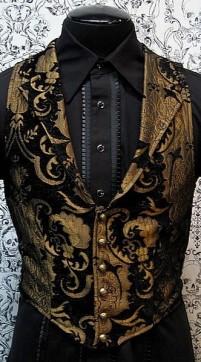 Черно-коричневый жаккардовый жилет