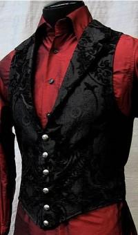 Черный жаккардовый жилет и красная рубашка